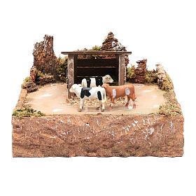 Mucche in movimento con paesaggio 15x25x25 cm s1