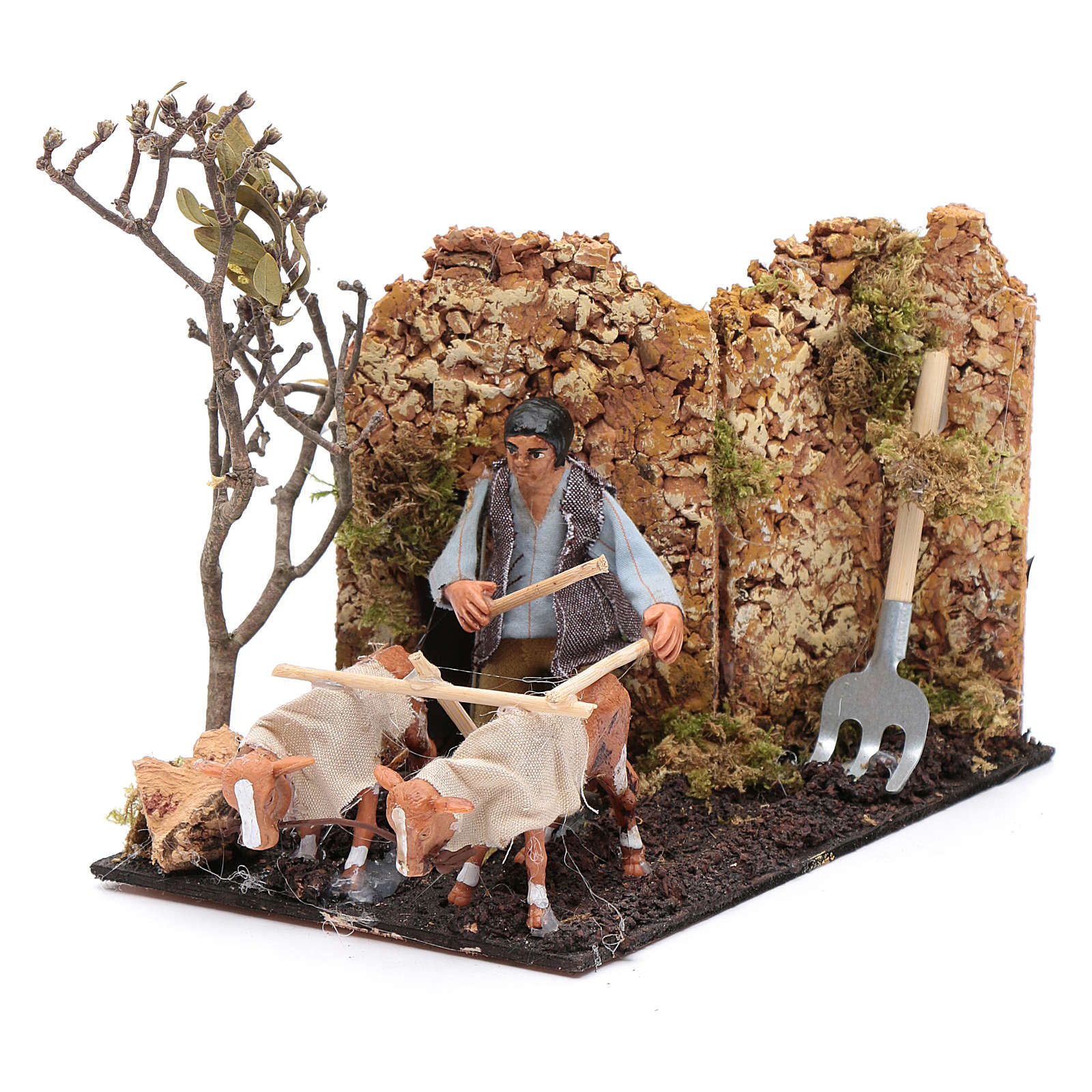 Neapolitan nativity scene moving farmer with plough 8 cm 4