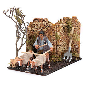 Neapolitan nativity scene moving farmer with plough 8 cm s2