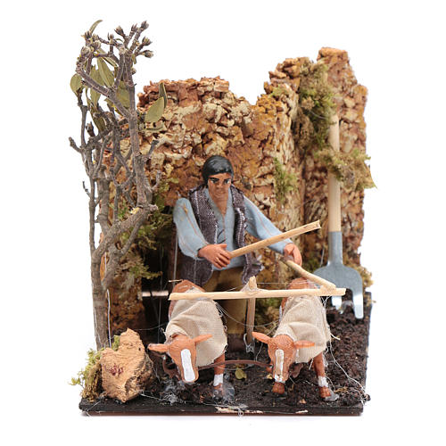 Neapolitan nativity scene moving farmer with plough 8 cm 1