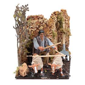 Granjero en movimiento con arado pesebre napolitano 8 cm s1