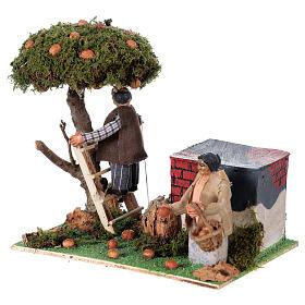 Neapolitan nativity scene moving couple picking oranges 8 cm s2