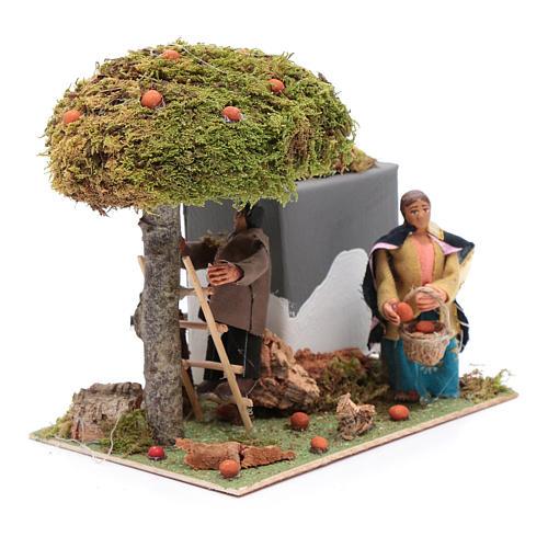 Neapolitan nativity scene moving couple picking oranges 8 cm 3