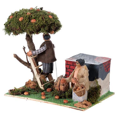 Neapolitan nativity scene moving couple picking oranges 8 cm 2