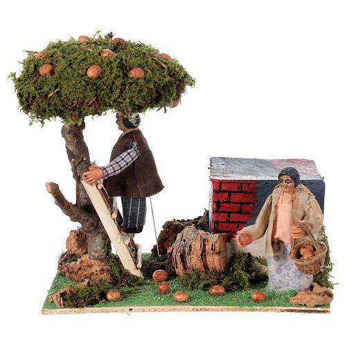 Couple qui ramasse des oranges animation crèche de Naples 8 cm 1