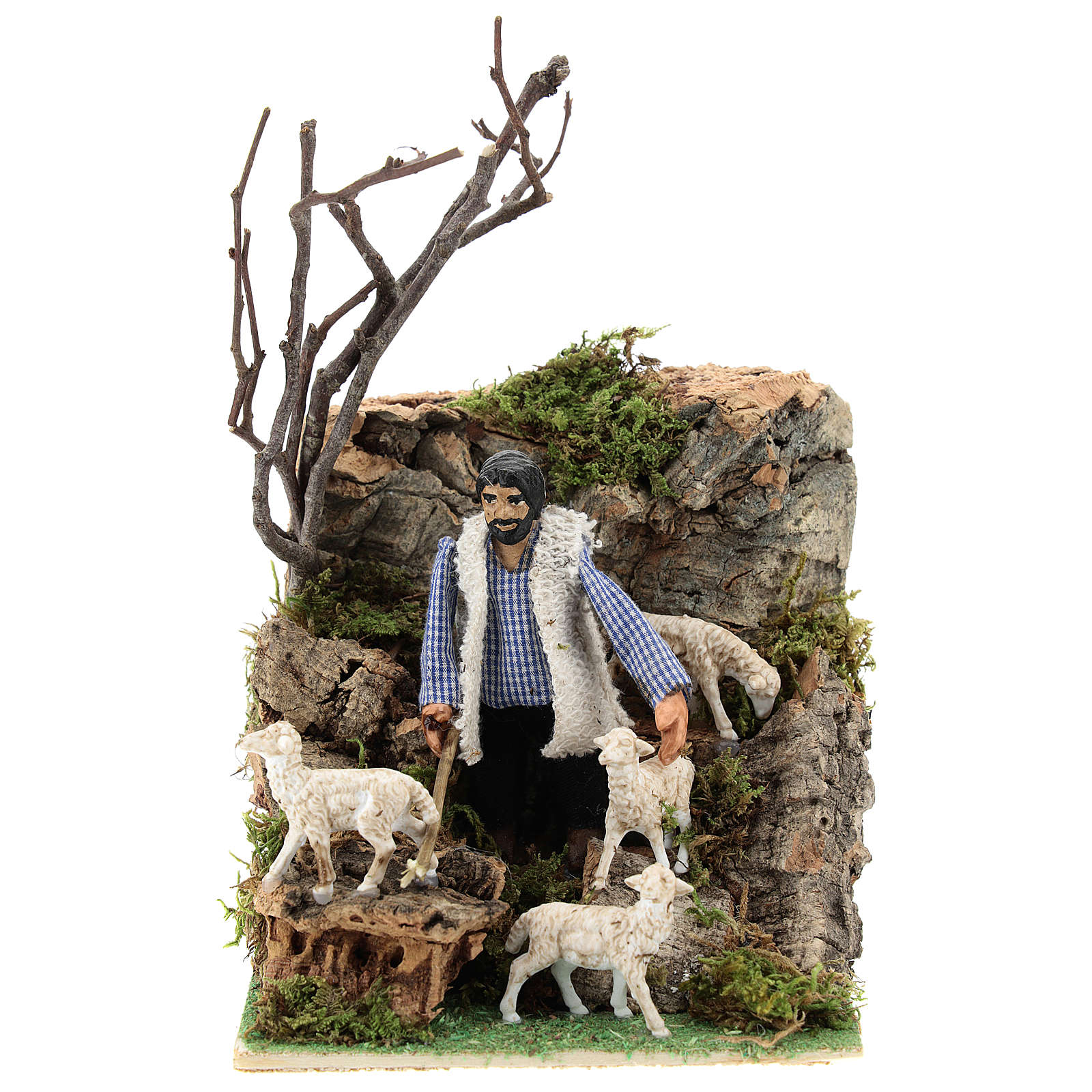Neapolitan nativity scene moving shepherd 8 cm 4