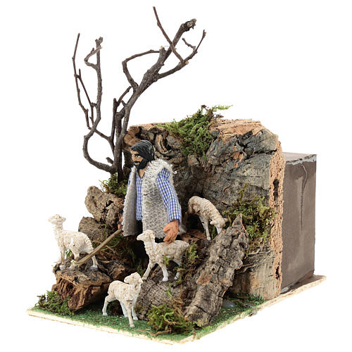 Neapolitan nativity scene moving shepherd 8 cm 3