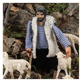 Pastor ovejas en movimiento pesebre Nápoles 8 cm s2