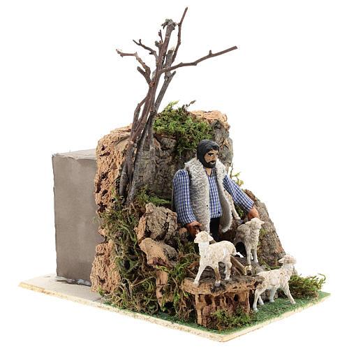 Neapolitan nativity scene moving shepherd 8 cm 4