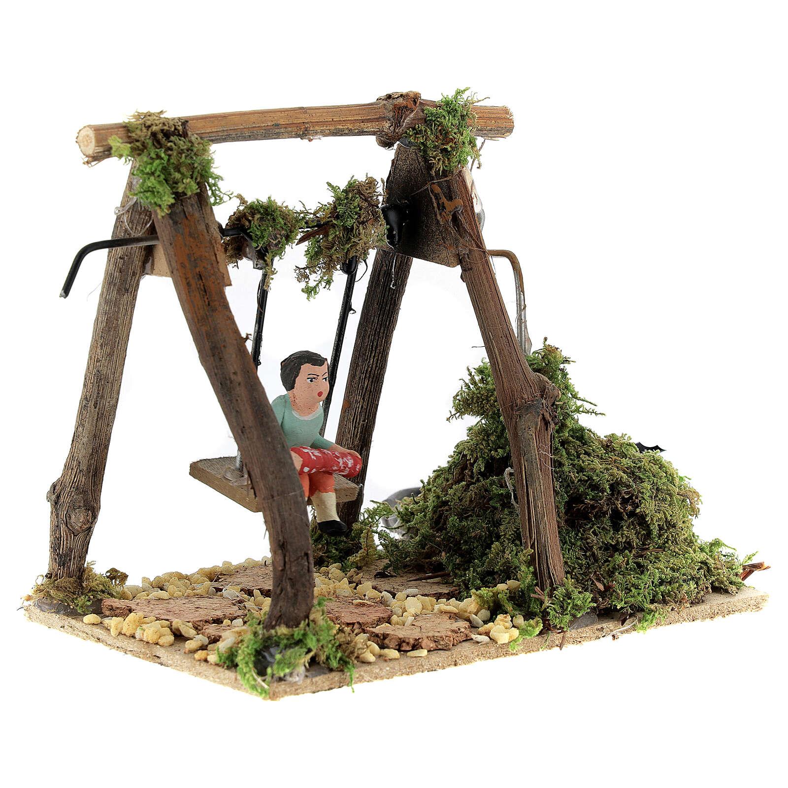 Neapolitan nativity scene moving girl on swing 8 cm 4