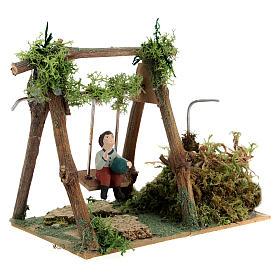 Neapolitan nativity scene moving girl on swing 8 cm s7