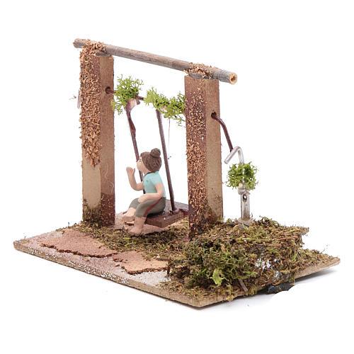 Neapolitan nativity scene moving girl on swing 8 cm 2