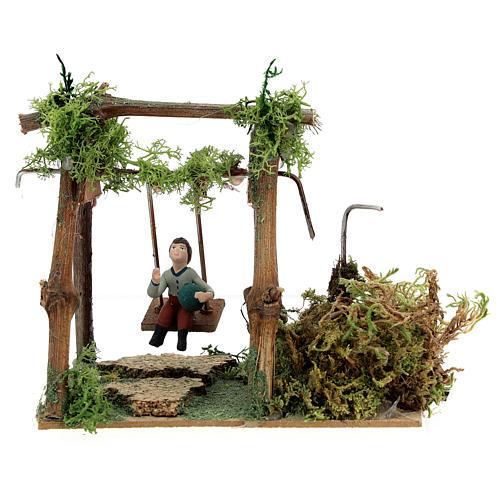 Neapolitan nativity scene moving girl on swing 8 cm 5