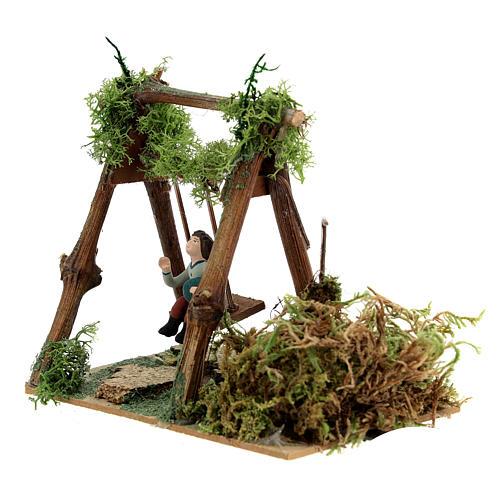 Neapolitan nativity scene moving girl on swing 8 cm 6