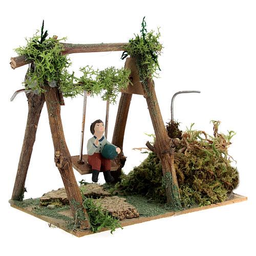 Neapolitan nativity scene moving girl on swing 8 cm 7