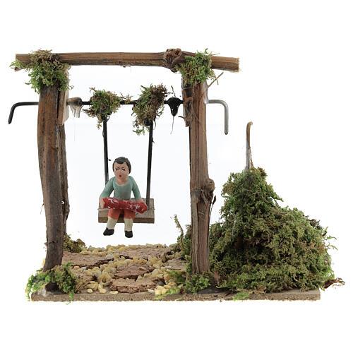 Neapolitan nativity scene moving girl on swing 8 cm 1