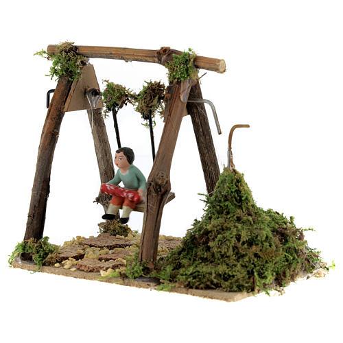Neapolitan nativity scene moving girl on swing 8 cm 3
