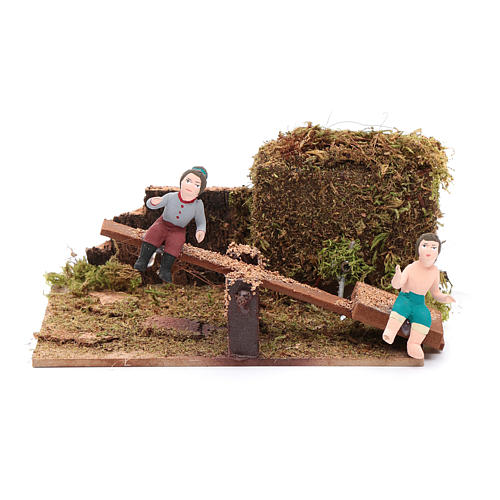 Neapolitan nativity scene moving children on rocking horse 8 cm 1