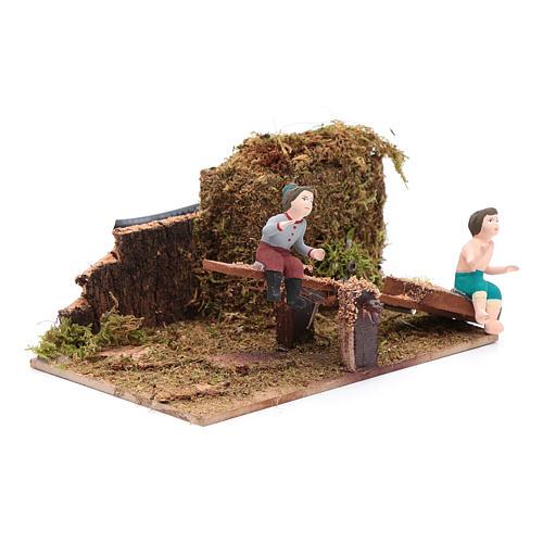 Neapolitan nativity scene moving children on rocking horse 8 cm 3