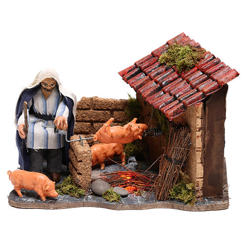 Neapolitan nativity scene moving roasted pork  10x15x10 cm 1