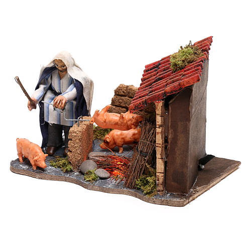 Neapolitan nativity scene moving roasted pork  10x15x10 cm 2