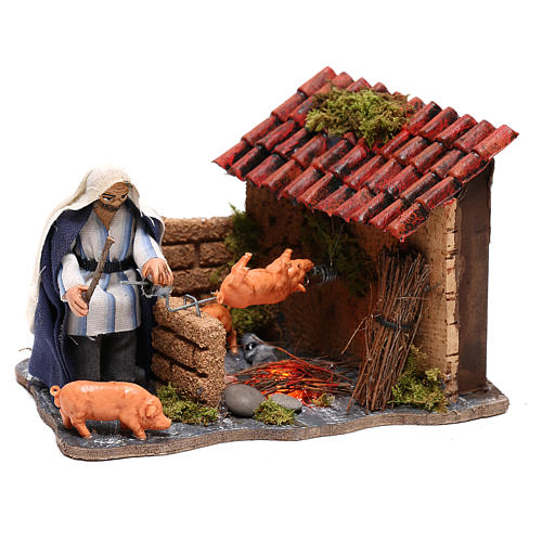Neapolitan nativity scene moving roasted pork  10x15x10 cm 3