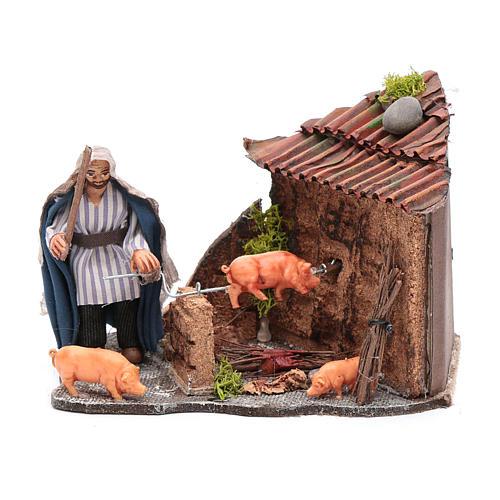 Figura en movimiento cerdo asado pesebre napolitano 10x15x10 cm 1