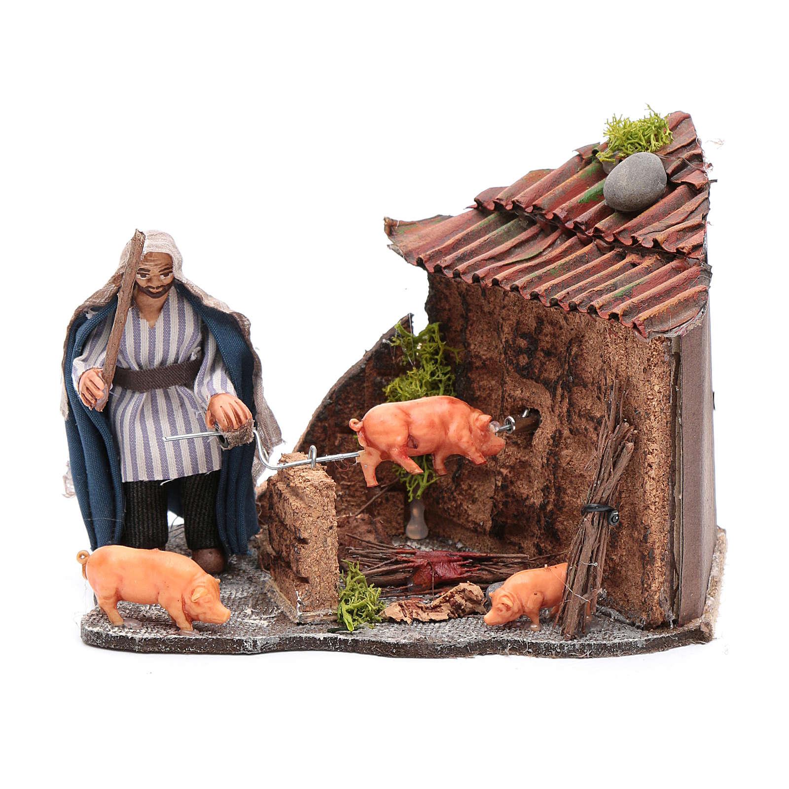 Neapolitan nativity scene moving roasted pork  10x15x10 cm 4