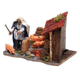 Neapolitan nativity scene moving roasted pork  10x15x10 cm s2