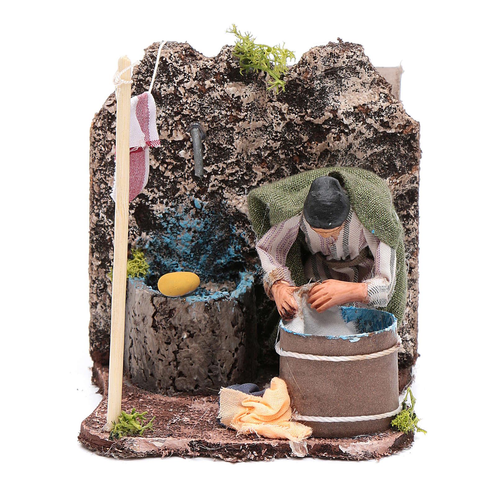 Lavandera  en movimiento pesebre napolitano 8 cm 4