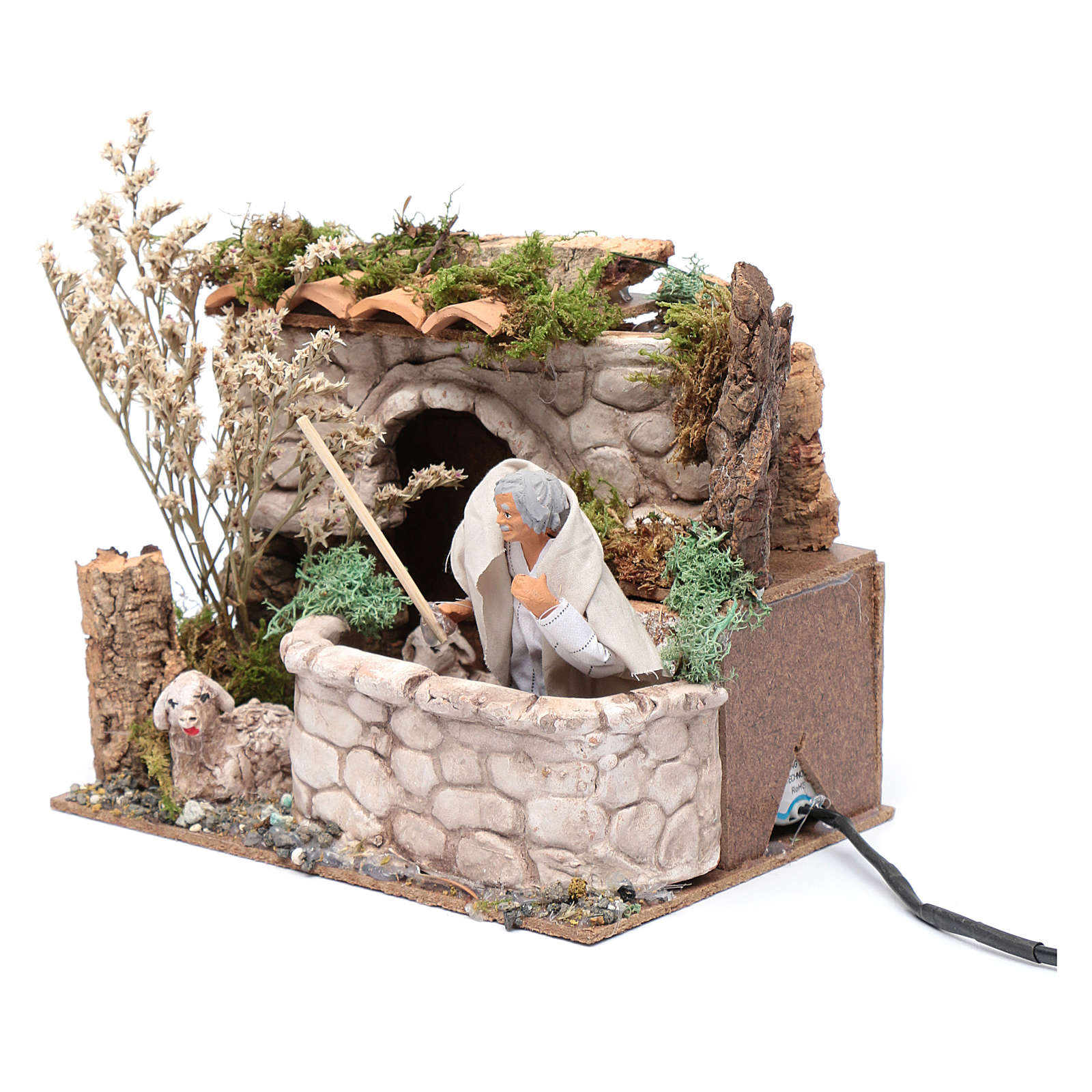 Nativity scene moving shepherd 15x20x15 cm 3