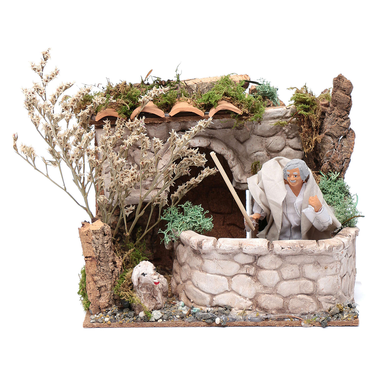 Pecoraio in movimento 15x20x15 cm per presepe 12cm 3