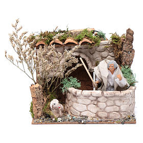 Pecoraio in movimento 15x20x15 cm per presepe 12cm s1