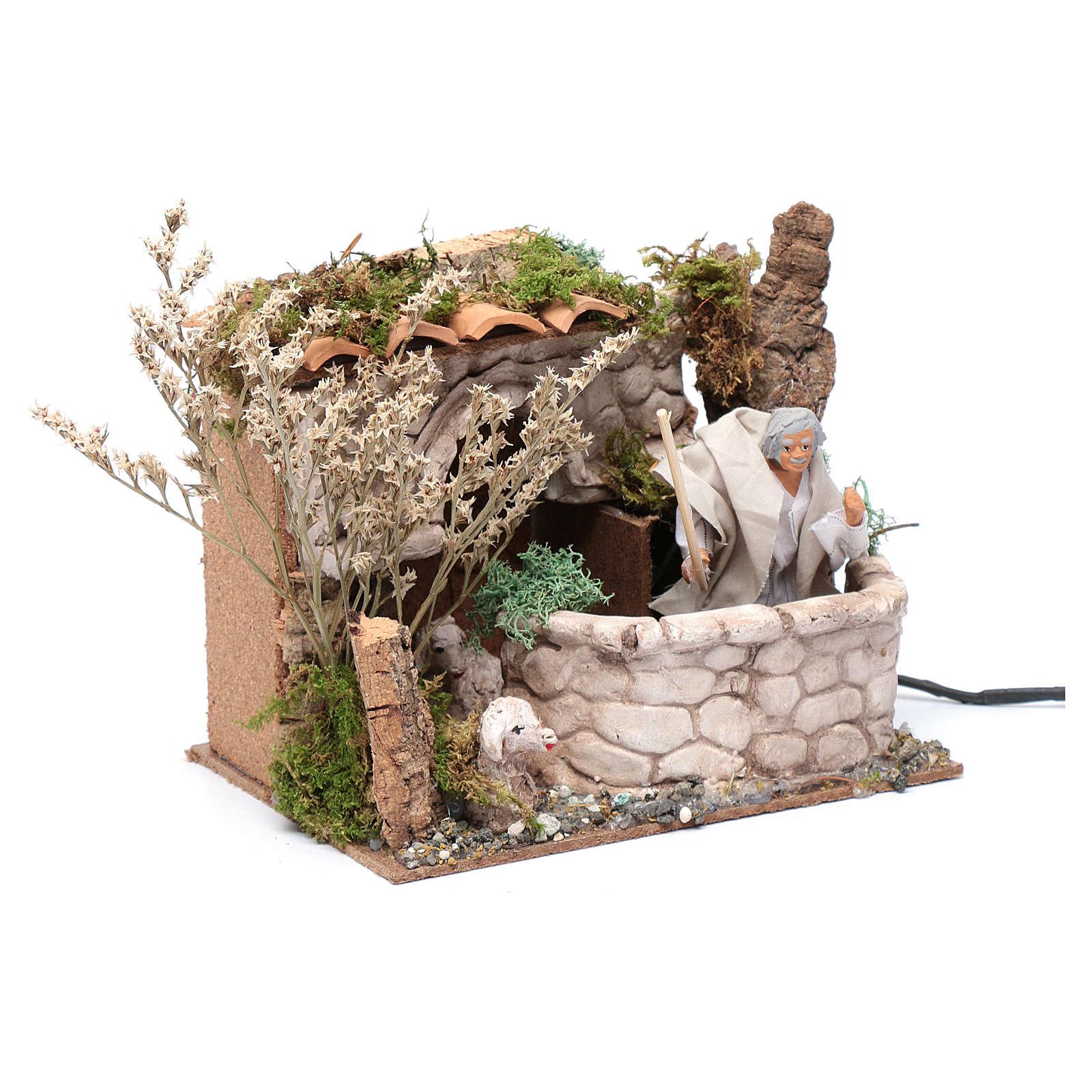 Nativity scene moving shepherd 15x20x15 cm 3