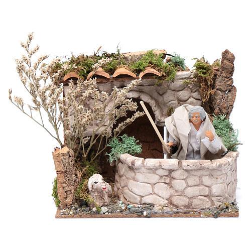 Nativity scene moving shepherd 15x20x15 cm 1