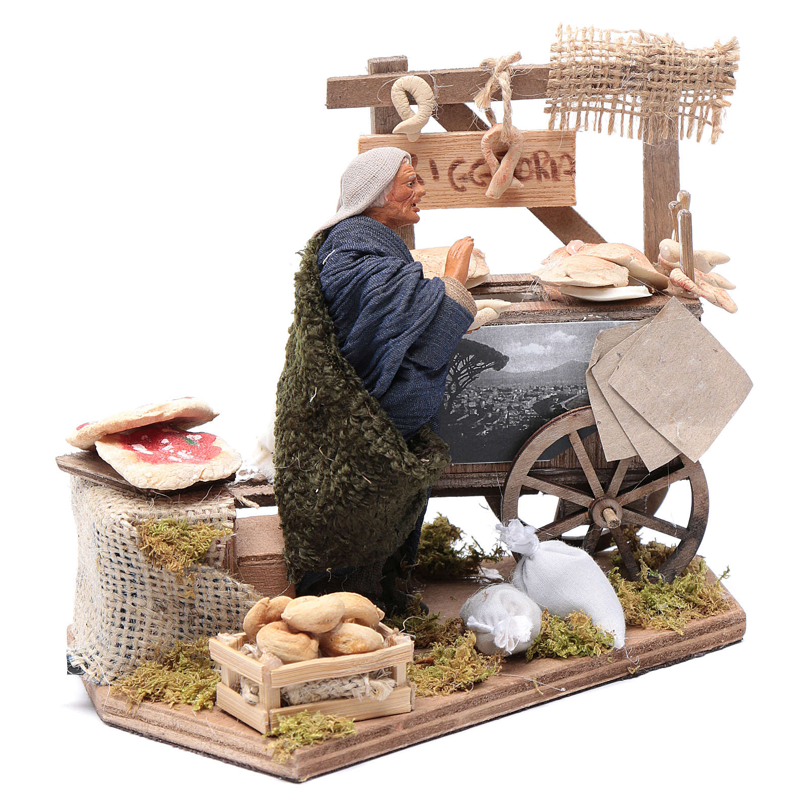 Neapolitan nativity scene statue woman with fritter cart 10 cm 4
