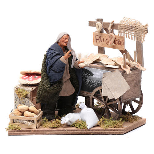 Neapolitan nativity scene statue woman with fritter cart 10 cm 1