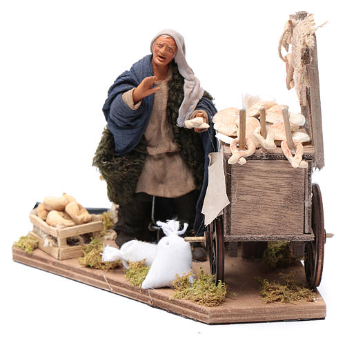Neapolitan nativity scene statue woman with fritter cart 10 cm 2