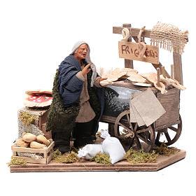Presépio Napolitano: Mulher com carrinho de doces fritos movimento presépio napolitano com figuras de altura média 10 cm
