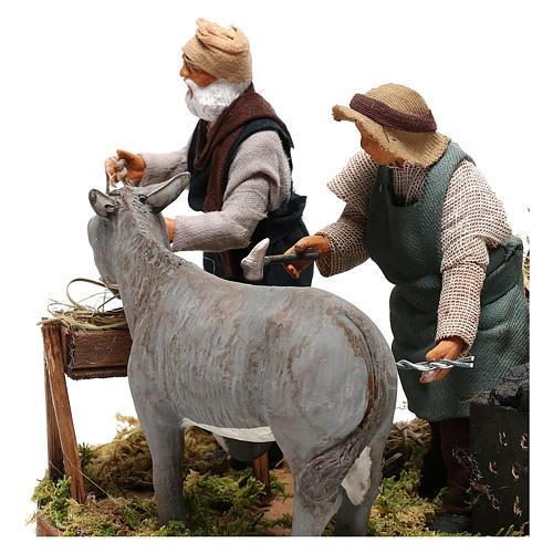 Moving farrier with farmers 12 cm for Neapolitan nativity scene 2