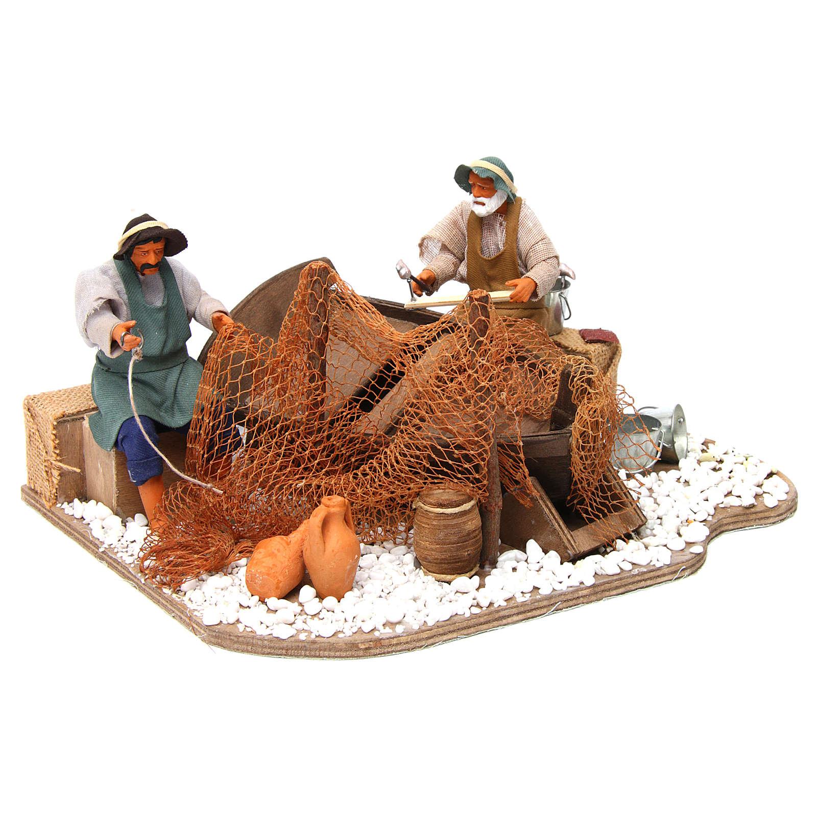 Pescatori barca e rete movimento 14 cm presepi Napoli 4