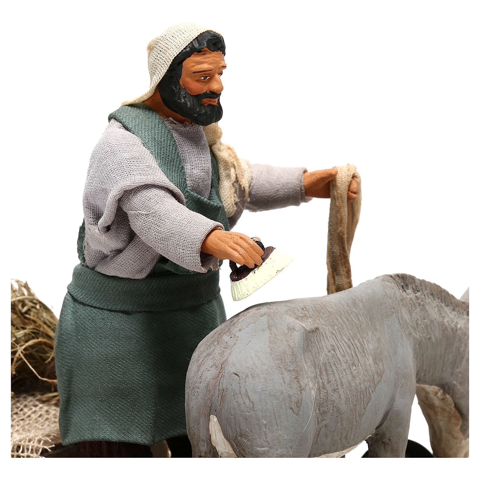 Man currying donkey  in movement 14 cm for Neapolitan nativity scene 4