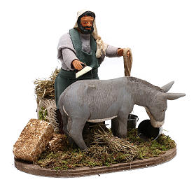 Man currying donkey  in movement 14 cm for Neapolitan nativity scene s4
