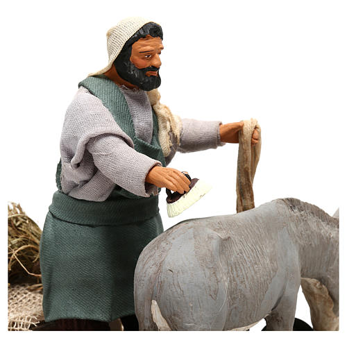 Man currying donkey  in movement 14 cm for Neapolitan nativity scene 2