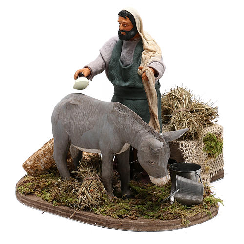 Man currying donkey  in movement 14 cm for Neapolitan nativity scene 3