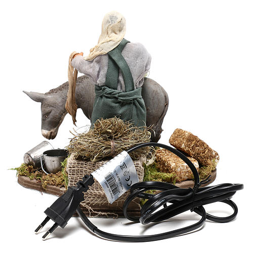 Man currying donkey  in movement 14 cm for Neapolitan nativity scene 5