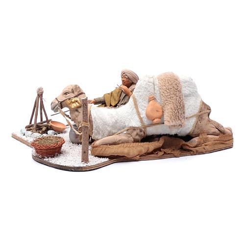 Escena en movimiento pastor con camello pesebre napolitano 24 cm 2