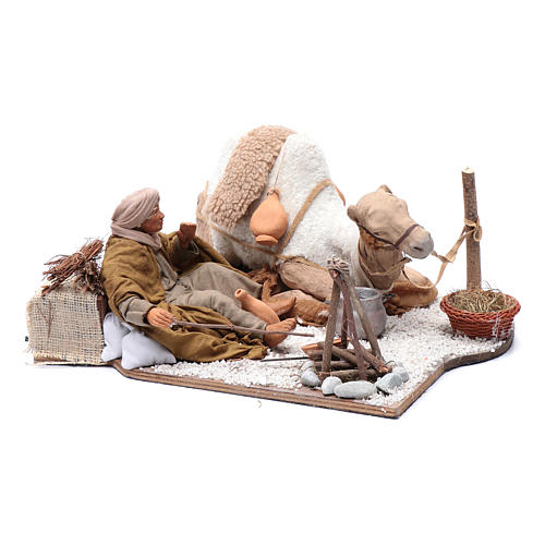 Escena en movimiento pastor con camello pesebre napolitano 24 cm 3