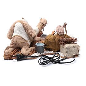 Chamelier et chameau mouvement 24 cm crèche Naples s5