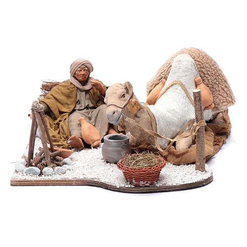 Chamelier et chameau mouvement 24 cm crèche Naples 1